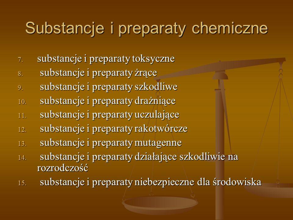 Substancje i preparaty chemiczne 7. substancje i preparaty toksyczne 8. substancje i preparaty żrące 9. substancje i preparaty szkodliwe 10. substancj