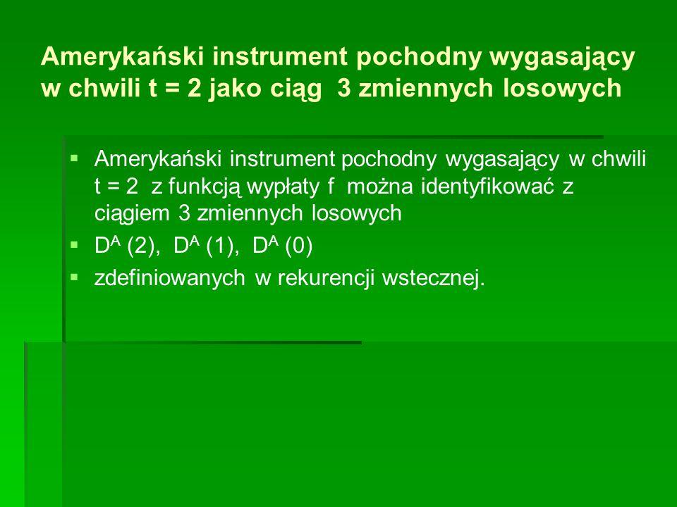 Amerykański instrument pochodny wygasający w chwili t = 2 jako ciąg 3 zmiennych losowych   Amerykański instrument pochodny wygasający w chwili t = 2