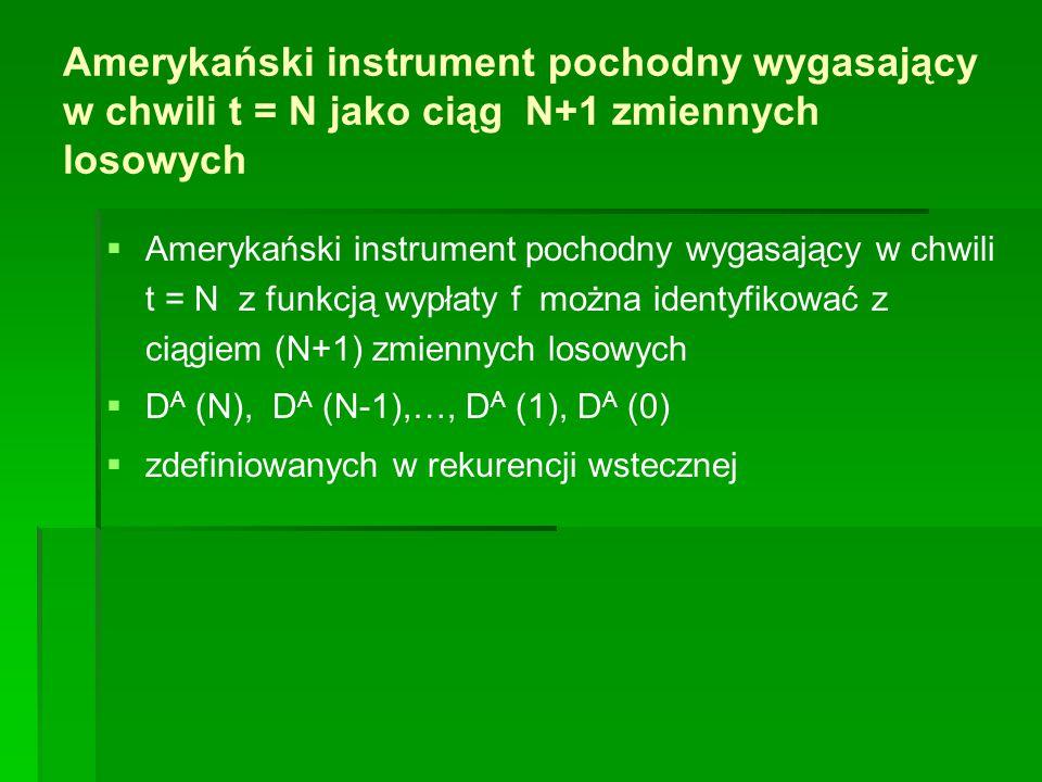 Amerykański instrument pochodny wygasający w chwili t = N jako ciąg N+1 zmiennych losowych   Amerykański instrument pochodny wygasający w chwili t =