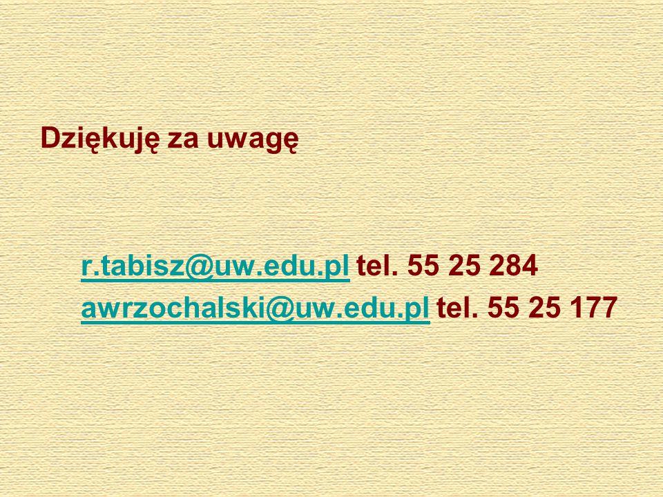 Dziękuję za uwagę r.tabisz@uw.edu.pl tel. 55 25 284r.tabisz@uw.edu.pl awrzochalski@uw.edu.pl tel.