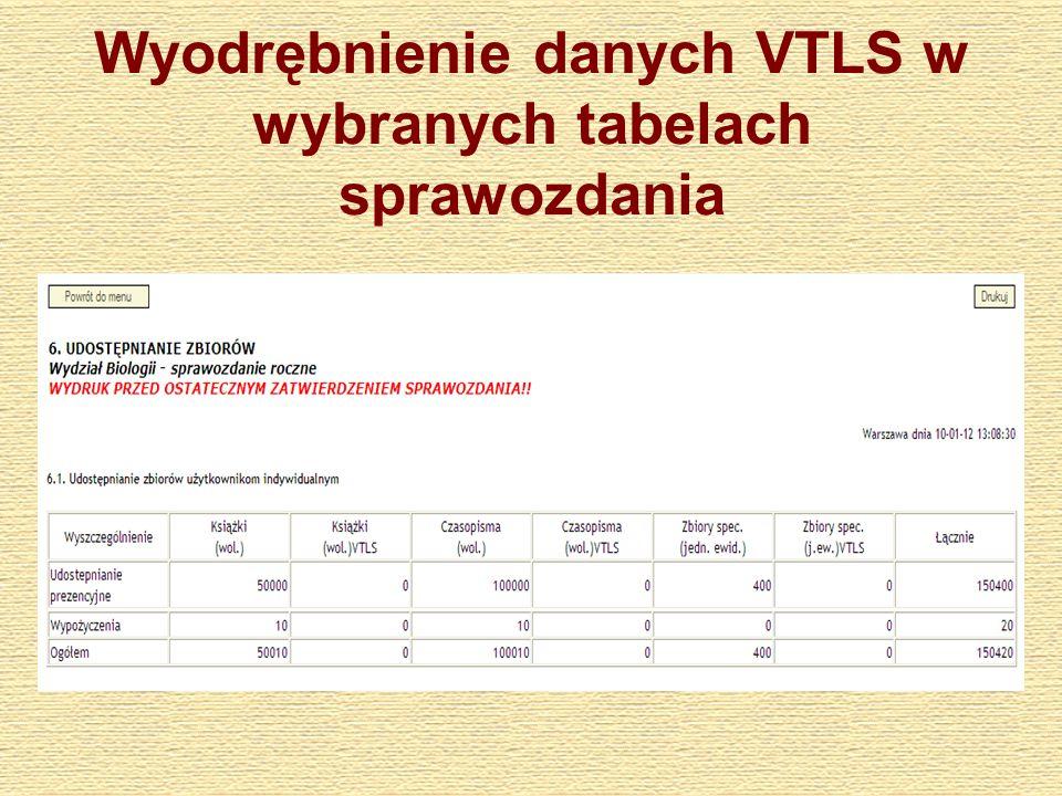 Wyodrębnienie danych VTLS w wybranych tabelach sprawozdania