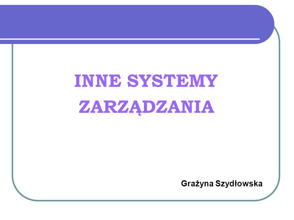 INNE SYSTEMY ZARZĄDZANIA Grażyna Szydłowska