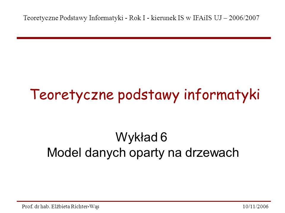 Teoretyczne Podstawy Informatyki - Rok I - kierunek IS w IFAiIS UJ – 2006/2007 10/11/2006Prof.