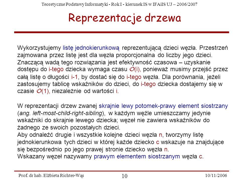 Teoretyczne Podstawy Informatyki - Rok I - kierunek IS w IFAiIS UJ – 2006/2007 10/11/2006 10 Prof.