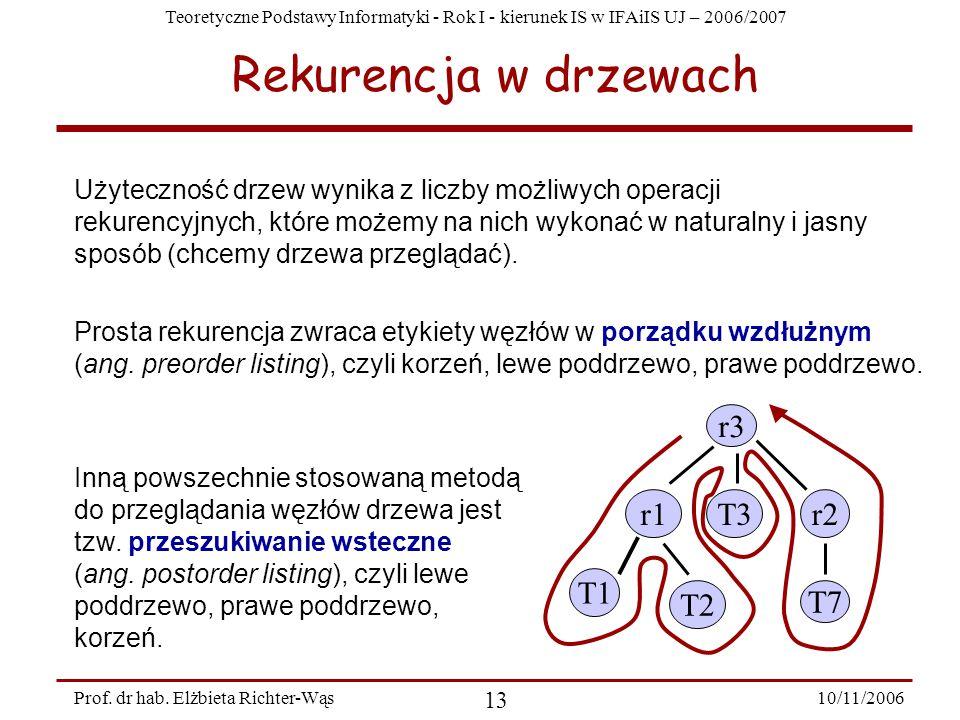 Teoretyczne Podstawy Informatyki - Rok I - kierunek IS w IFAiIS UJ – 2006/2007 10/11/2006 13 Prof.