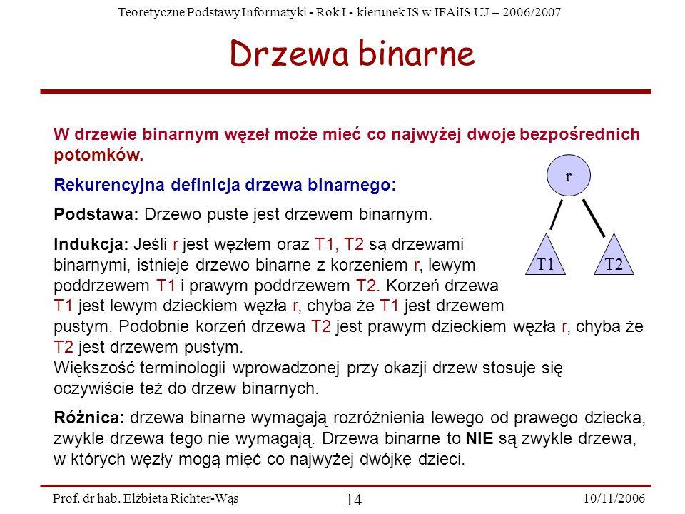 Teoretyczne Podstawy Informatyki - Rok I - kierunek IS w IFAiIS UJ – 2006/2007 10/11/2006 14 Prof.