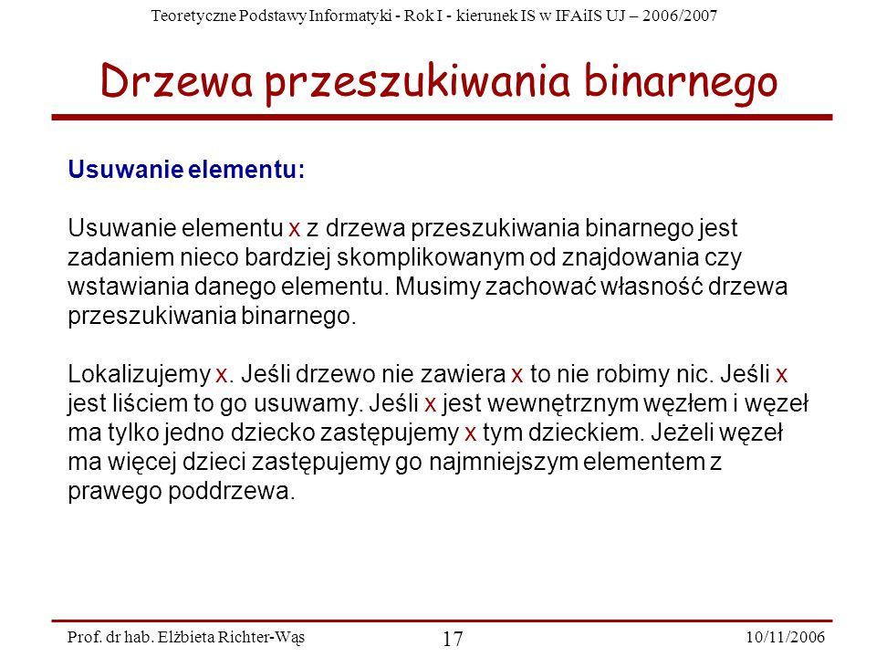 Teoretyczne Podstawy Informatyki - Rok I - kierunek IS w IFAiIS UJ – 2006/2007 10/11/2006 17 Prof.