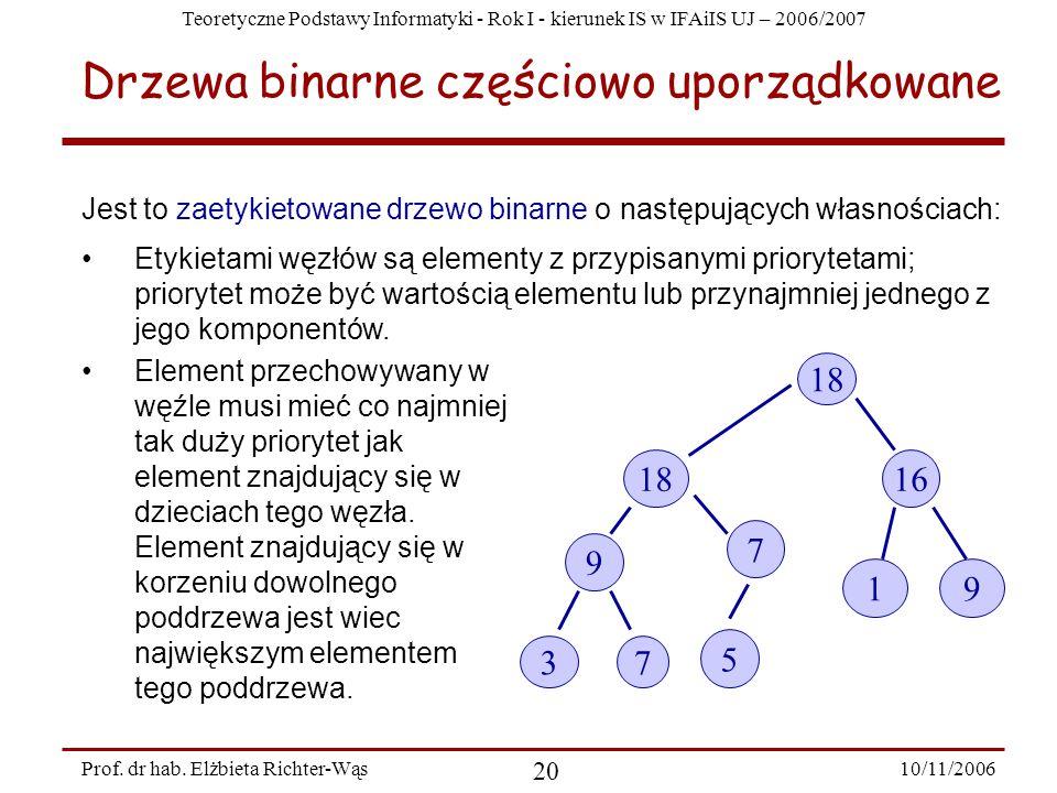 Teoretyczne Podstawy Informatyki - Rok I - kierunek IS w IFAiIS UJ – 2006/2007 10/11/2006 20 Prof.