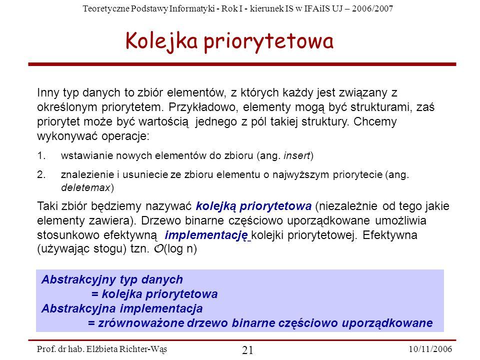 Teoretyczne Podstawy Informatyki - Rok I - kierunek IS w IFAiIS UJ – 2006/2007 10/11/2006 21 Prof.