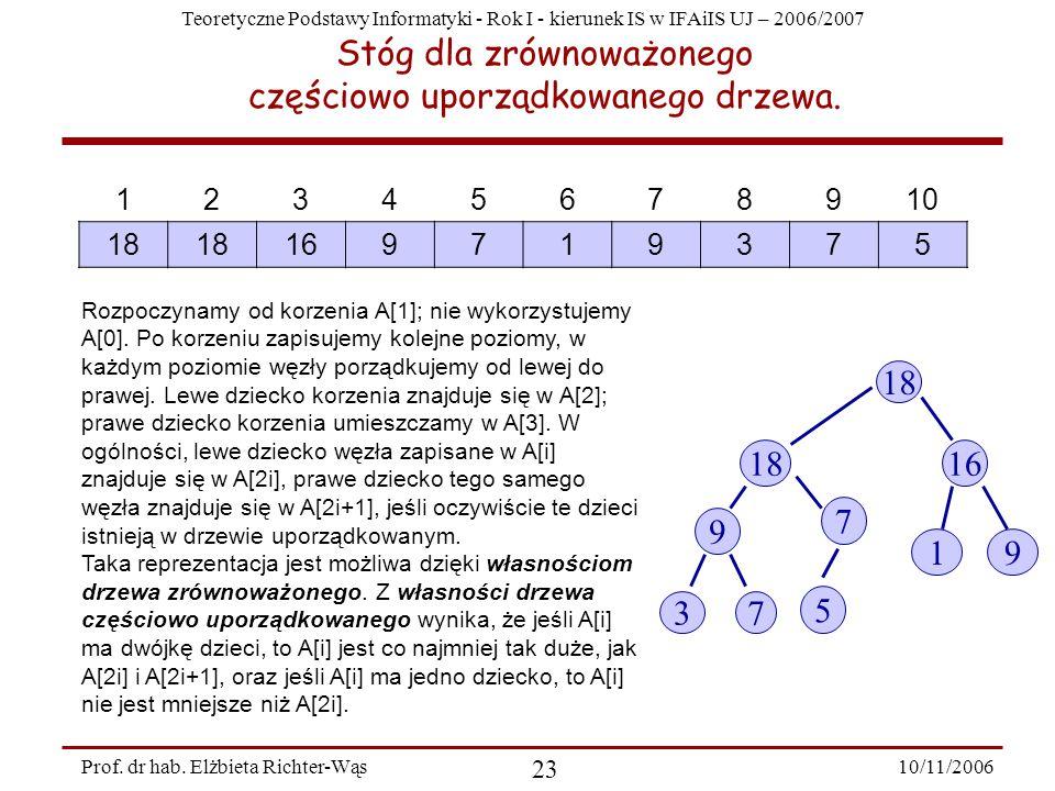 Teoretyczne Podstawy Informatyki - Rok I - kierunek IS w IFAiIS UJ – 2006/2007 10/11/2006 23 Prof.