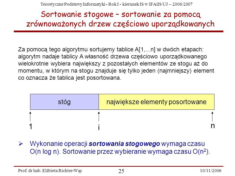 Teoretyczne Podstawy Informatyki - Rok I - kierunek IS w IFAiIS UJ – 2006/2007 10/11/2006 25 Prof.