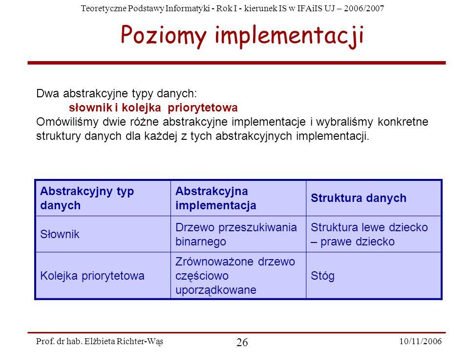Teoretyczne Podstawy Informatyki - Rok I - kierunek IS w IFAiIS UJ – 2006/2007 10/11/2006 26 Prof.
