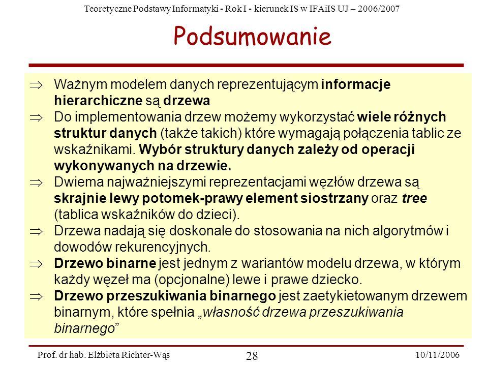 Teoretyczne Podstawy Informatyki - Rok I - kierunek IS w IFAiIS UJ – 2006/2007 10/11/2006 28 Prof.