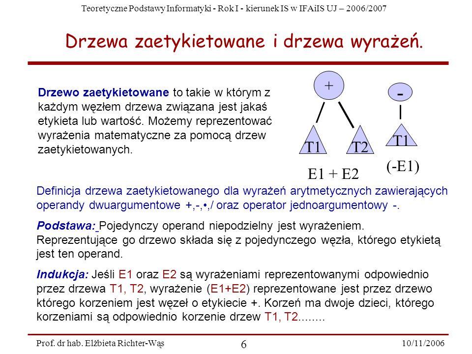 Teoretyczne Podstawy Informatyki - Rok I - kierunek IS w IFAiIS UJ – 2006/2007 10/11/2006 6 Prof.