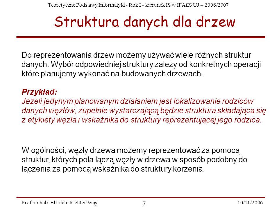 Teoretyczne Podstawy Informatyki - Rok I - kierunek IS w IFAiIS UJ – 2006/2007 10/11/2006 7 Prof.
