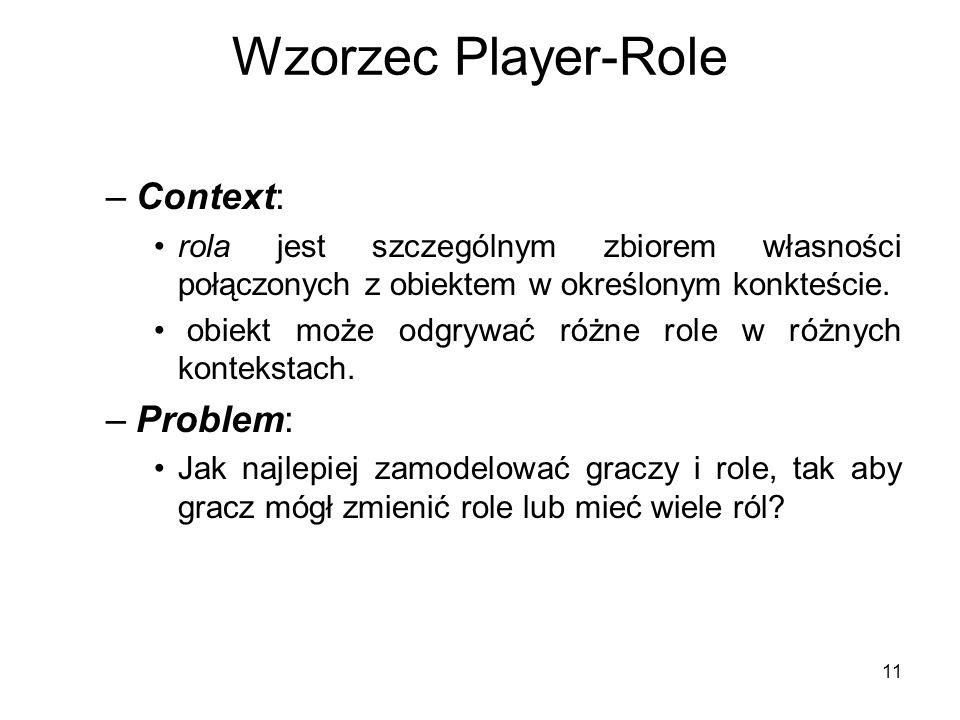 11 Wzorzec Player-Role –Context: rola jest szczególnym zbiorem własności połączonych z obiektem w określonym konkteście. obiekt może odgrywać różne ro
