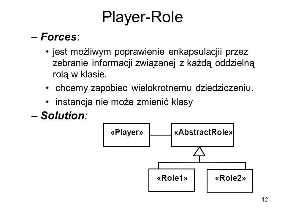 12 Player-Role –Forces: jest możliwym poprawienie enkapsulacjii przez zebranie informacji związanej z każdą oddzielną rolą w klasie. chcemy zapobiec w