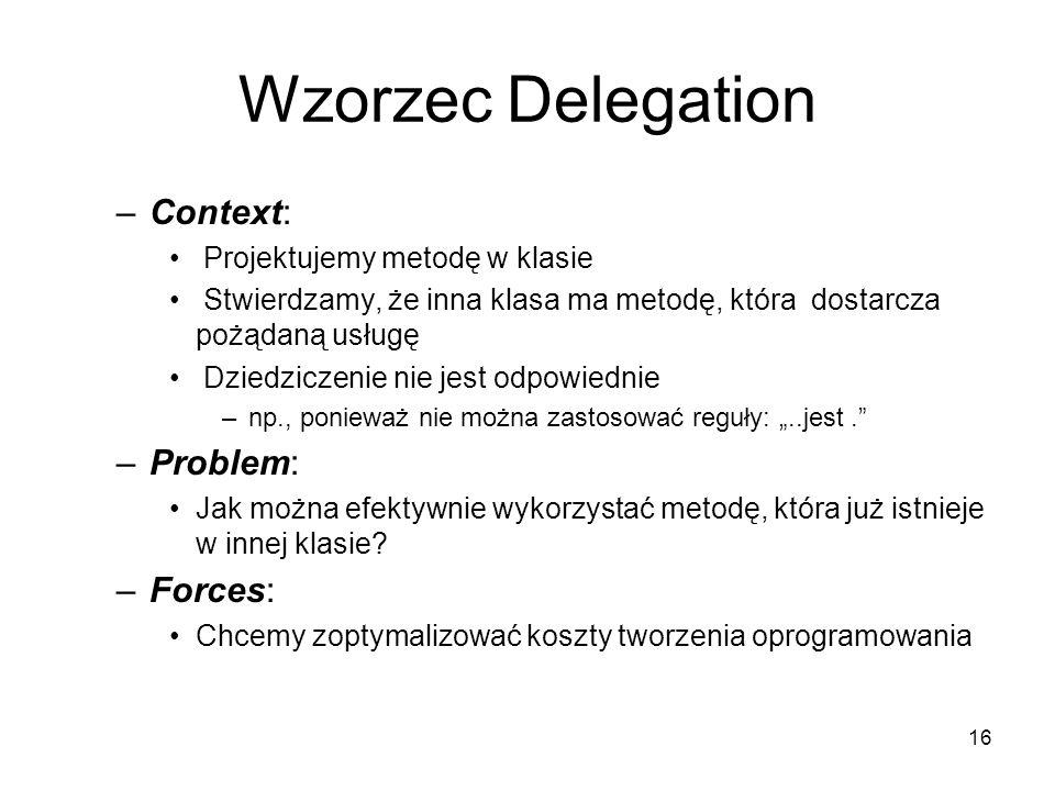 16 Wzorzec Delegation –Context: Projektujemy metodę w klasie Stwierdzamy, że inna klasa ma metodę, która dostarcza pożądaną usługę Dziedziczenie nie j