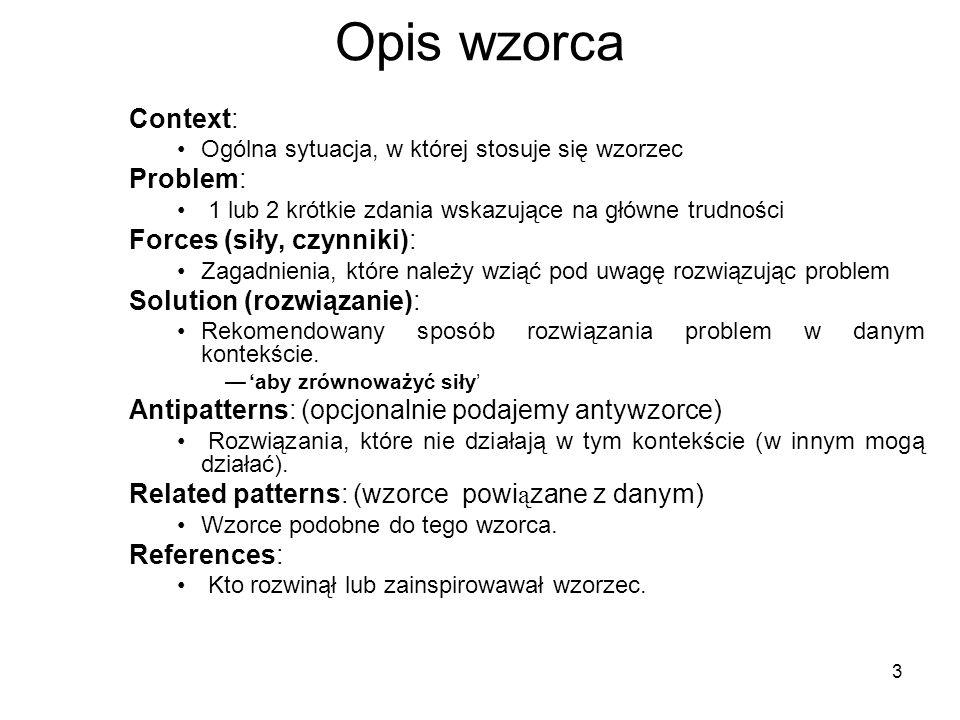 3 Opis wzorca Context: Ogólna sytuacja, w której stosuje się wzorzec Problem: 1 lub 2 krótkie zdania wskazujące na główne trudności Forces (siły, czyn