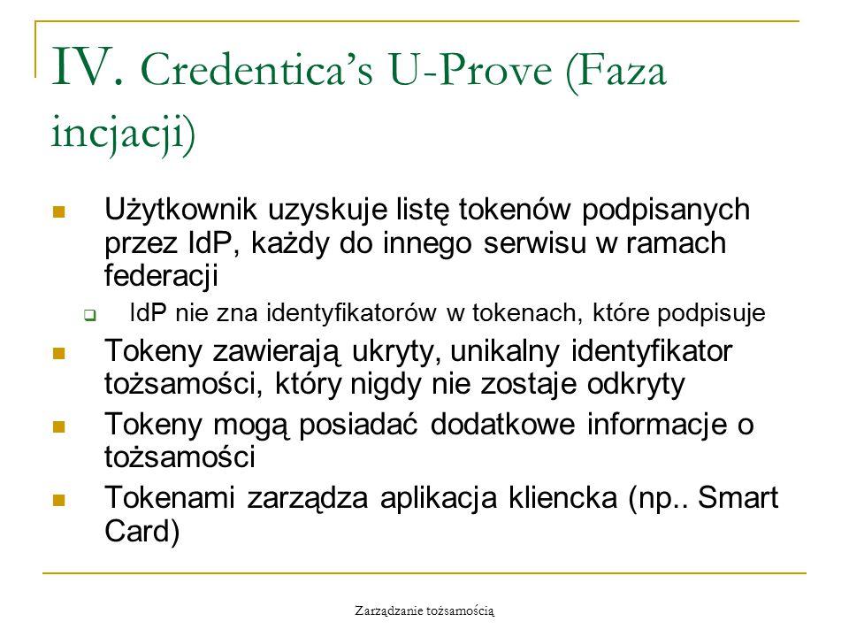 Zarządzanie tożsamością IV. Credentica's U-Prove (Faza incjacji) Użytkownik uzyskuje listę tokenów podpisanych przez IdP, każdy do innego serwisu w ra