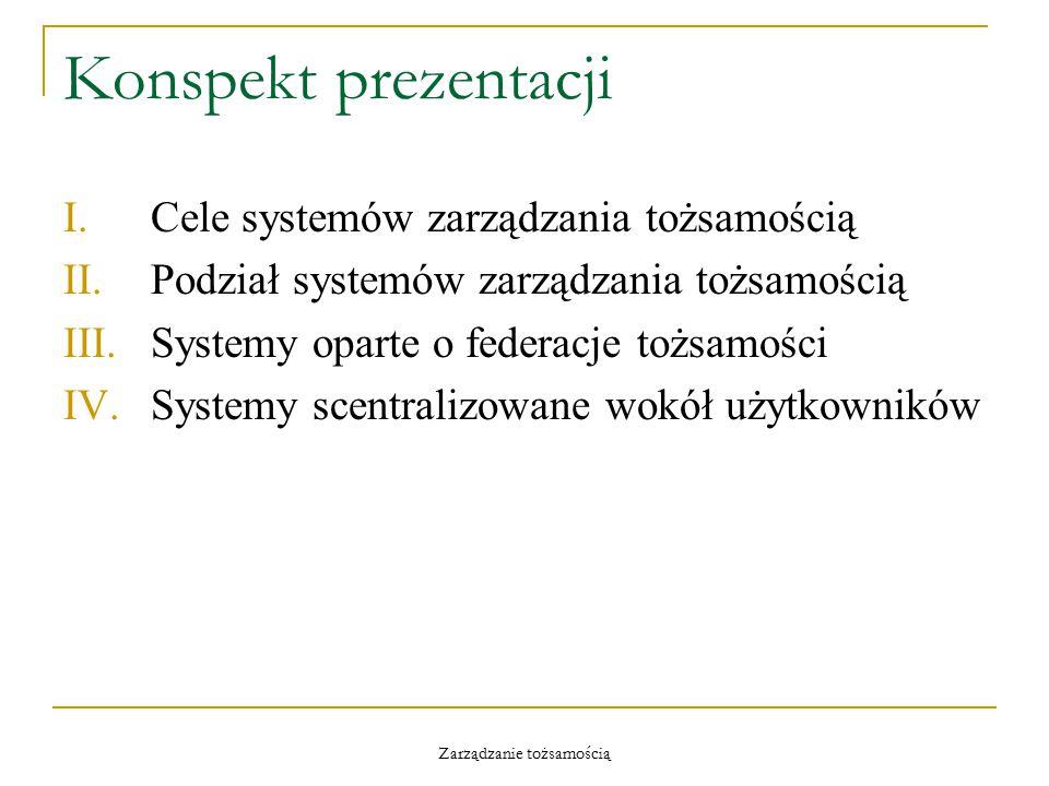 Zarządzanie tożsamością Konspekt prezentacji I.Cele systemów zarządzania tożsamością II.Podział systemów zarządzania tożsamością III.Systemy oparte o federacje tożsamości IV.Systemy scentralizowane wokół użytkowników