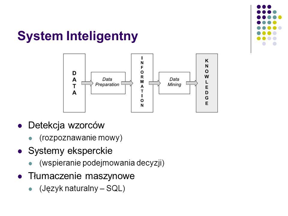 System Inteligentny Detekcja wzorców (rozpoznawanie mowy) Systemy eksperckie (wspieranie podejmowania decyzji) Tłumaczenie maszynowe (Język naturalny – SQL)