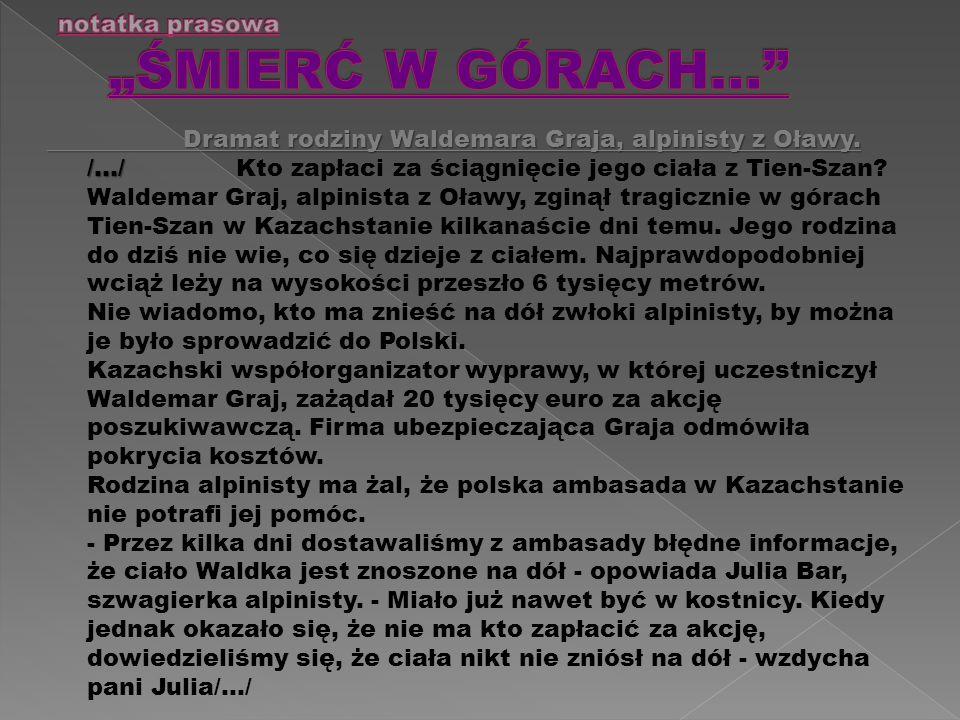 Dramat rodziny Waldemara Graja, alpinisty z Oławy.