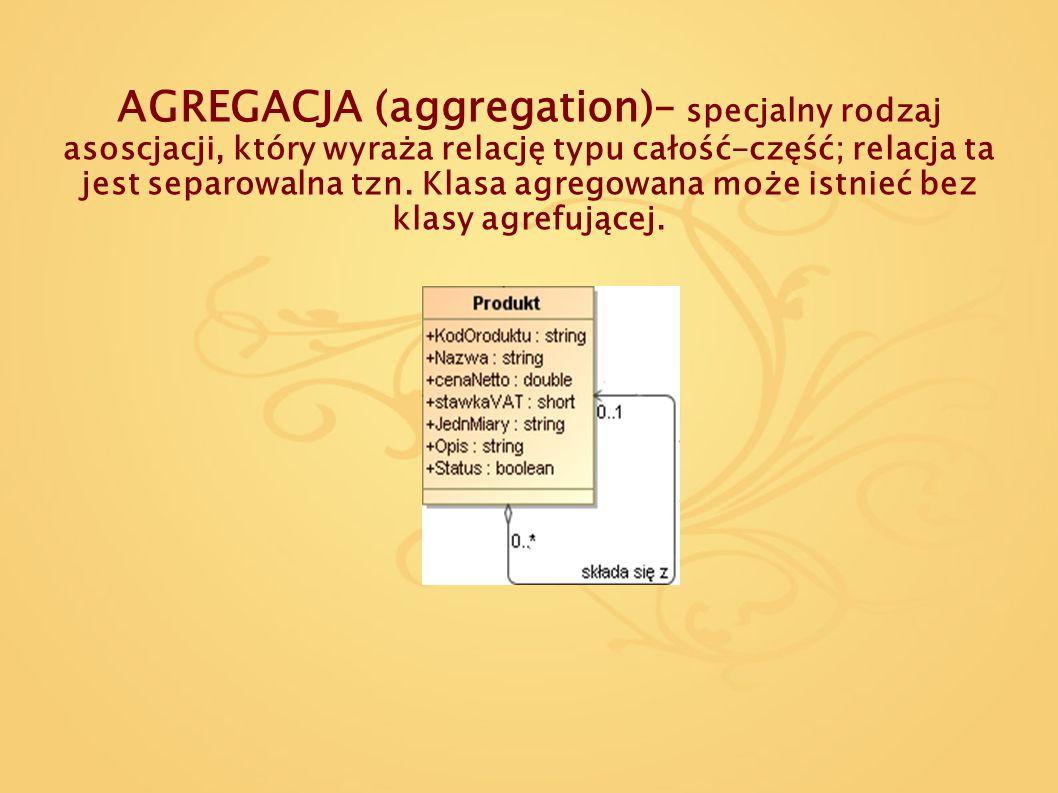 AGREGACJA (aggregation)– specjalny rodzaj asoscjacji, który wyraża relację typu całość-część; relacja ta jest separowalna tzn. Klasa agregowana może i