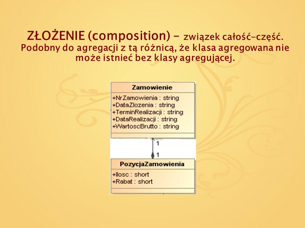 ZŁOŻENIE (composition) – związek całość-część. Podobny do agregacji z tą różnicą, że klasa agregowana nie może istnieć bez klasy agregującej.