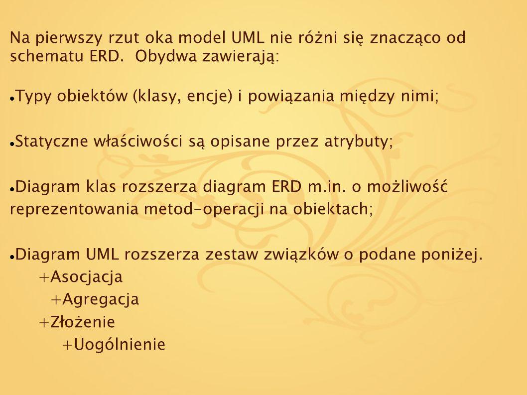 Na pierwszy rzut oka model UML nie różni się znacząco od schematu ERD. Obydwa zawierają: Typy obiektów (klasy, encje) i powiązania między nimi; Statyc