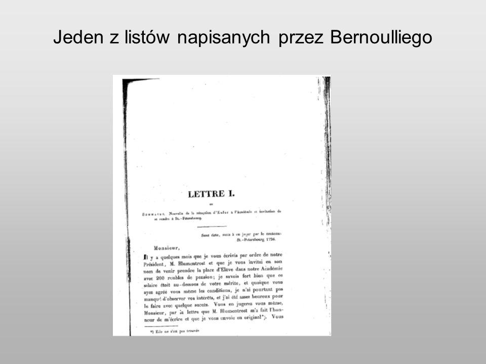 Jeden z listów napisanych przez Bernoulliego