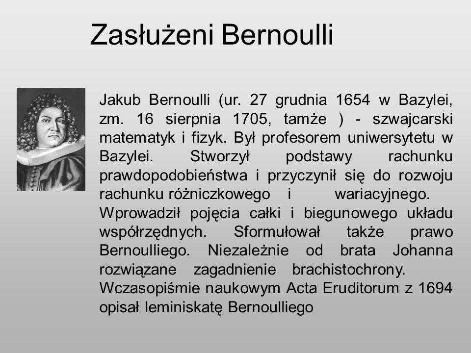 Zasłużeni Bernoulli Jakub Bernoulli (ur.27 grudnia 1654 w Bazylei, zm.