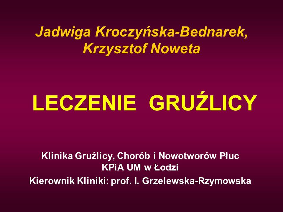 LECZENIE GRUŹLICY Klinika Gruźlicy, Chorób i Nowotworów Płuc KPiA UM w Łodzi Kierownik Kliniki: prof. I. Grzelewska-Rzymowska Jadwiga Kroczyńska-Bedna