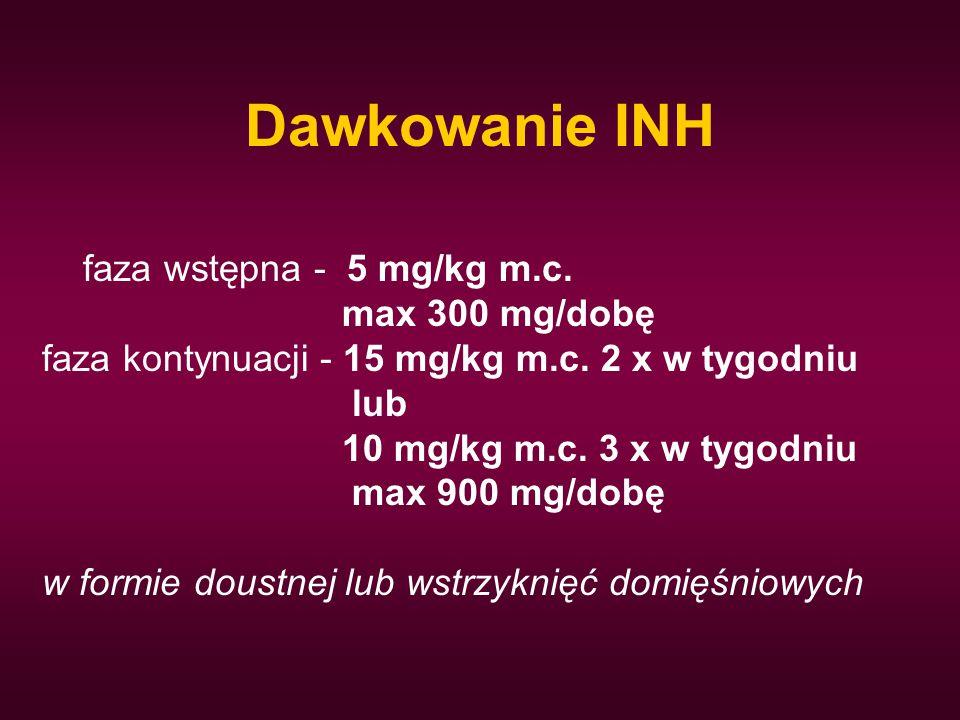 Dawkowanie INH faza wstępna - 5 mg/kg m.c. max 300 mg/dobę faza kontynuacji - 15 mg/kg m.c. 2 x w tygodniu lub 10 mg/kg m.c. 3 x w tygodniu max 900 mg