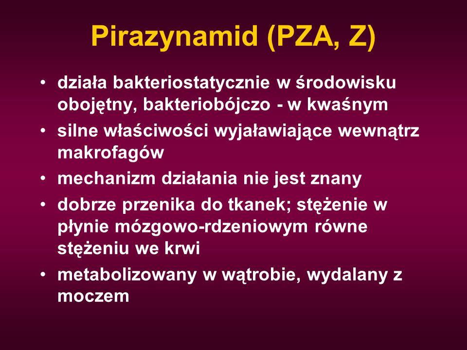 Pirazynamid (PZA, Z) działa bakteriostatycznie w środowisku obojętny, bakteriobójczo - w kwaśnym silne właściwości wyjaławiające wewnątrz makrofagów m