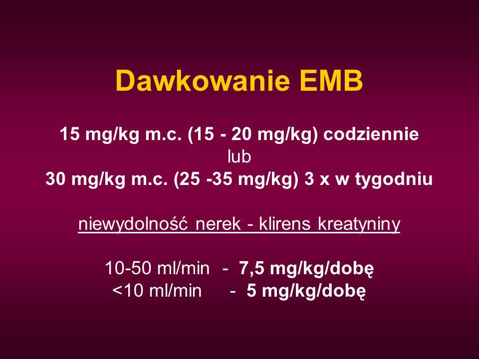 Dawkowanie EMB 15 mg/kg m.c. (15 - 20 mg/kg) codziennie lub 30 mg/kg m.c. (25 -35 mg/kg) 3 x w tygodniu niewydolność nerek - klirens kreatyniny 10-50