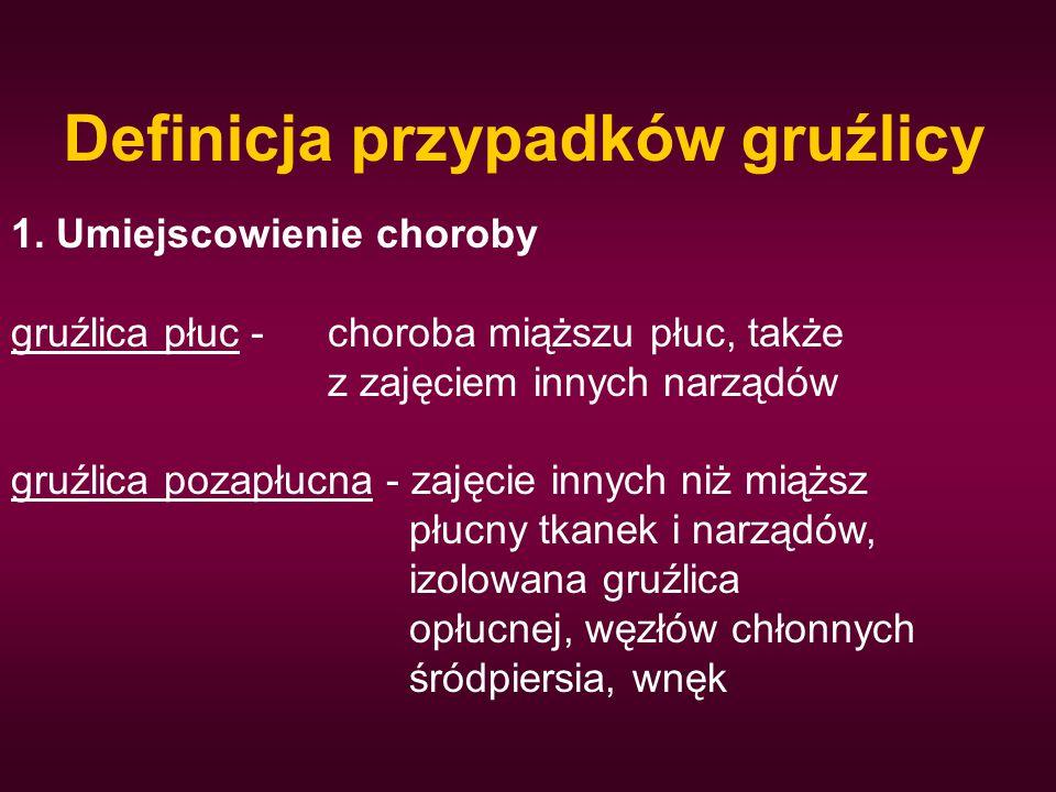 Definicja przypadków gruźlicy 1. Umiejscowienie choroby gruźlica płuc -choroba miąższu płuc, także z zajęciem innych narządów gruźlica pozapłucna - za