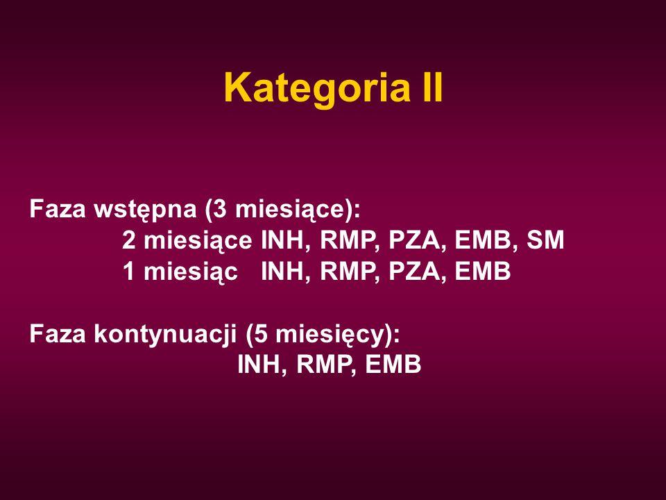 Kategoria II Faza wstępna (3 miesiące): 2 miesiące INH, RMP, PZA, EMB, SM 1 miesiąc INH, RMP, PZA, EMB Faza kontynuacji (5 miesięcy): INH, RMP, EMB