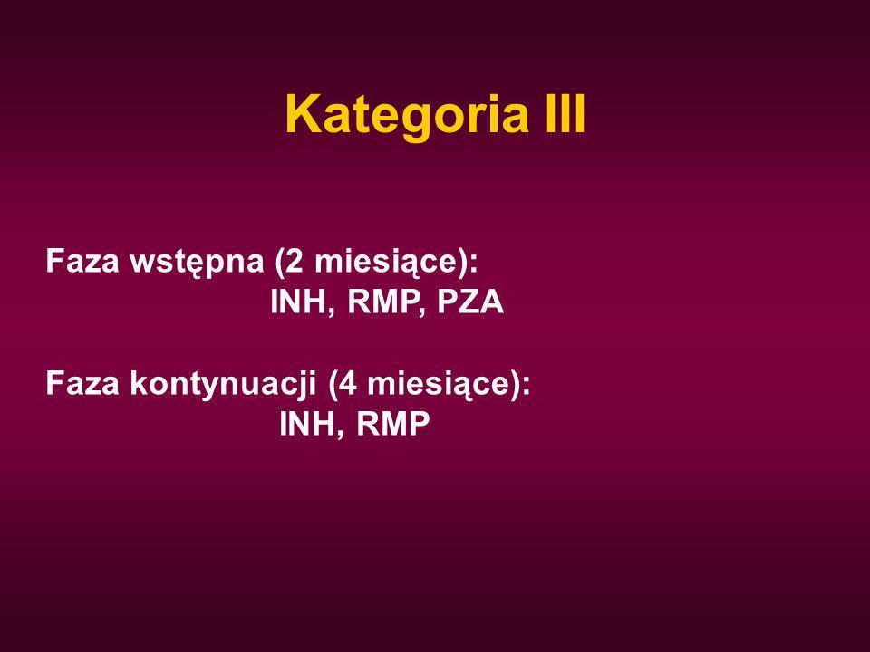Kategoria III Faza wstępna (2 miesiące): INH, RMP, PZA Faza kontynuacji (4 miesiące): INH, RMP