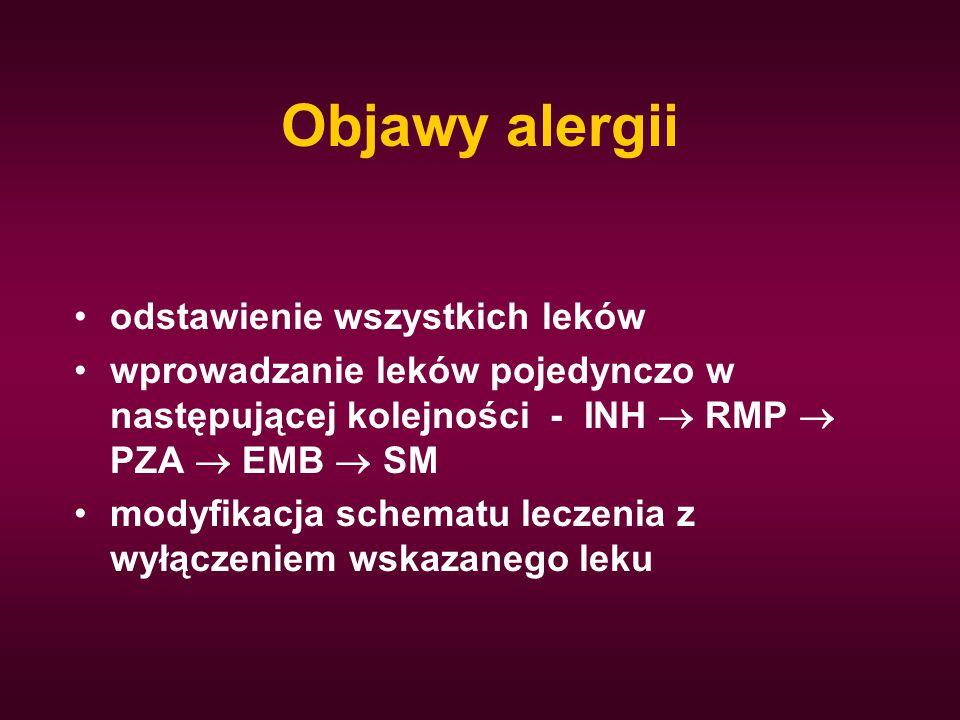 Objawy alergii odstawienie wszystkich leków wprowadzanie leków pojedynczo w następującej kolejności - INH  RMP  PZA  EMB  SM modyfikacja schematu