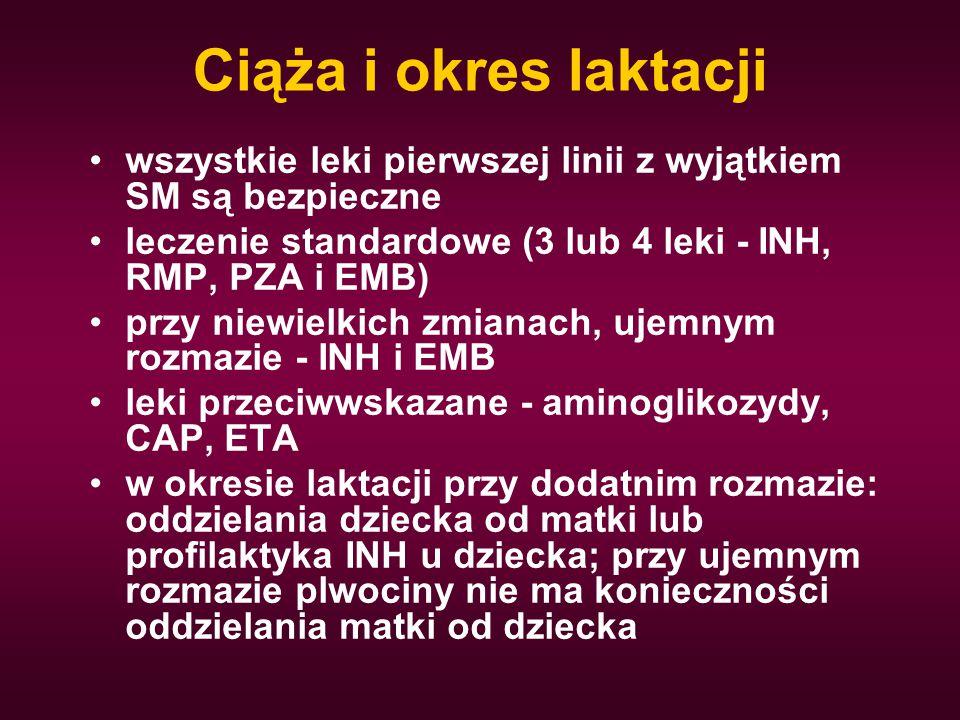 Ciąża i okres laktacji wszystkie leki pierwszej linii z wyjątkiem SM są bezpieczne leczenie standardowe (3 lub 4 leki - INH, RMP, PZA i EMB) przy niew