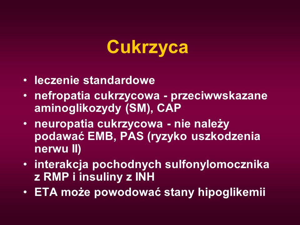Cukrzyca leczenie standardowe nefropatia cukrzycowa - przeciwwskazane aminoglikozydy (SM), CAP neuropatia cukrzycowa - nie należy podawać EMB, PAS (ry