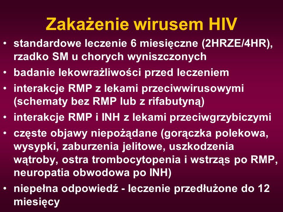 Zakażenie wirusem HIV standardowe leczenie 6 miesięczne (2HRZE/4HR), rzadko SM u chorych wyniszczonych badanie lekowrażliwości przed leczeniem interak