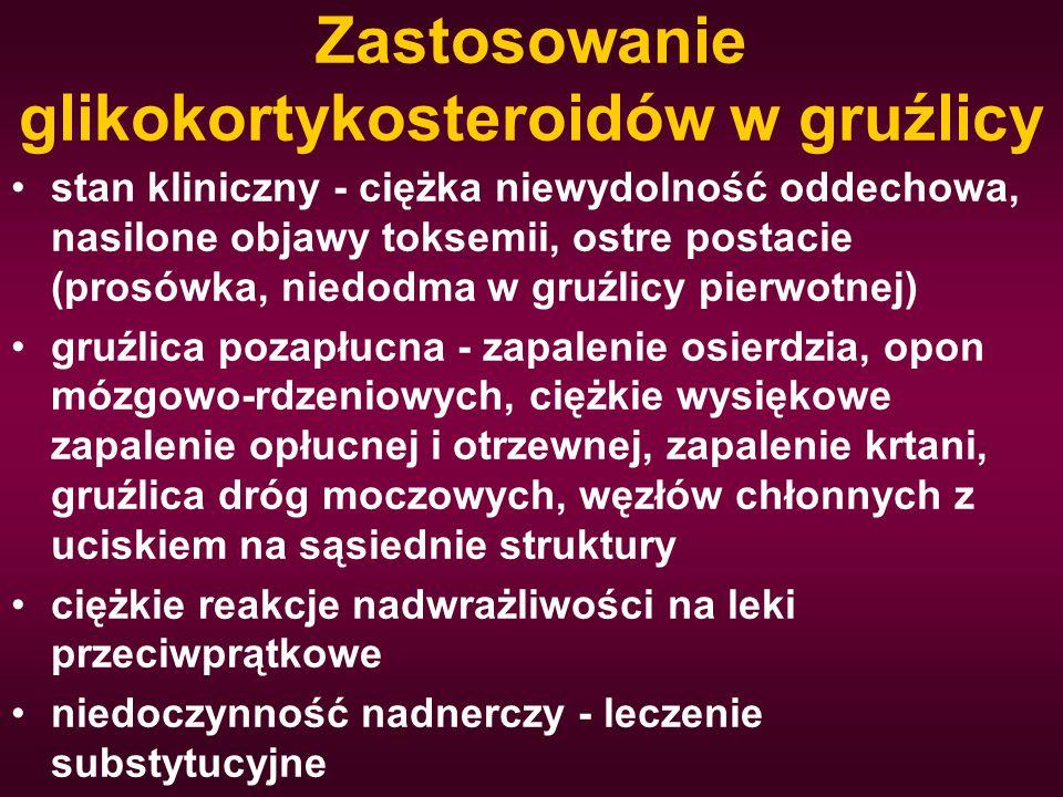Zastosowanie glikokortykosteroidów w gruźlicy stan kliniczny - ciężka niewydolność oddechowa, nasilone objawy toksemii, ostre postacie (prosówka, nied