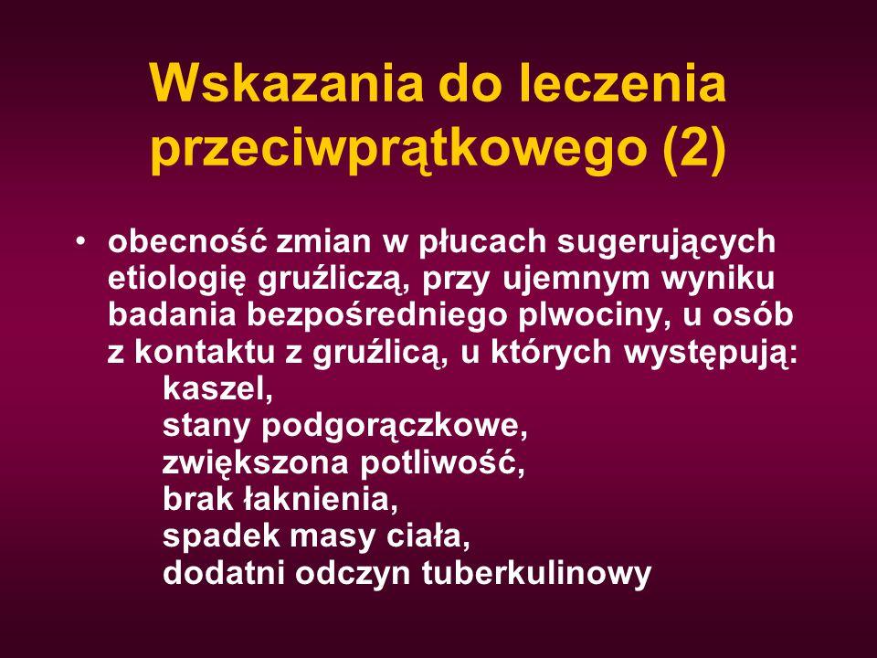 Wskazania do leczenia przeciwprątkowego (2) obecność zmian w płucach sugerujących etiologię gruźliczą, przy ujemnym wyniku badania bezpośredniego plwo