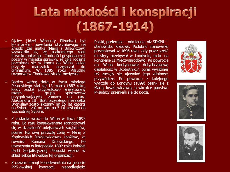   Ojciec (Józef Wincenty Piłsudski) był komisarzem powstania styczniowego na Żmudzi, zaś matka (Maria z Billewiczów) wywodziła się ze znakomitego ro