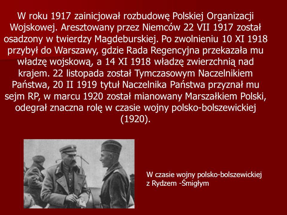 W roku 1917 zainicjował rozbudowę Polskiej Organizacji Wojskowej. Aresztowany przez Niemców 22 VII 1917 został osadzony w twierdzy Magdeburskiej. Po z