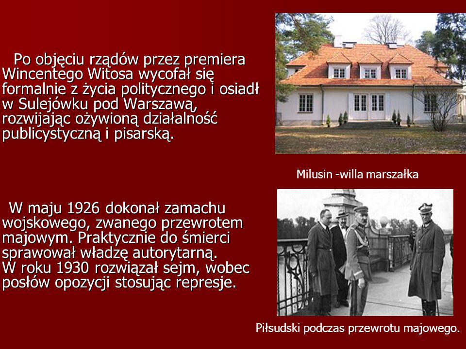 Po objęciu rządów przez premiera Wincentego Witosa wycofał się formalnie z życia politycznego i osiadł w Sulejówku pod Warszawą, rozwijając ożywioną d