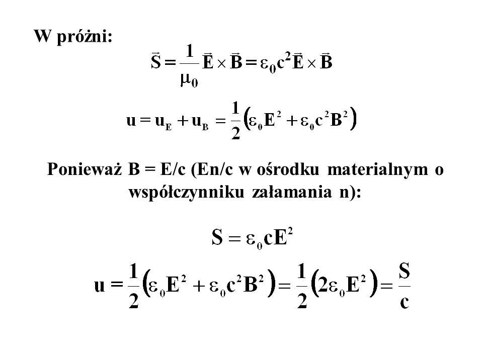 W ośrodku materialnym: Przekaz energii i pędu z fali e-m do ośrodka mat.