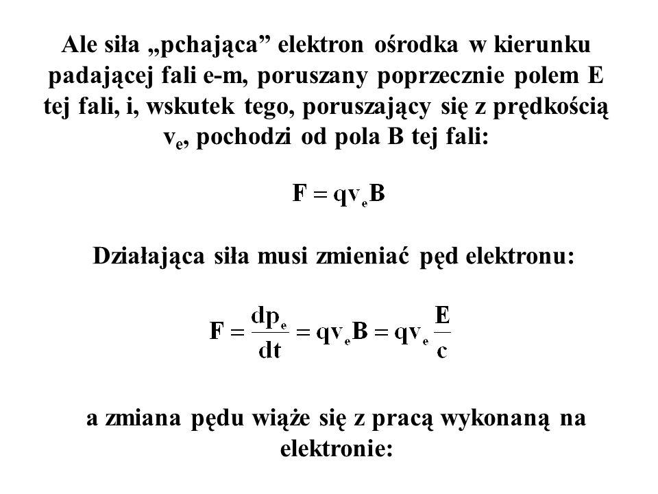 Całkując po czasie otrzymamy: gdzie W to praca wykonana na elektronie przez pole E gdzie p fala to gęstość objętościowa pędu niesionego przez falę e-m